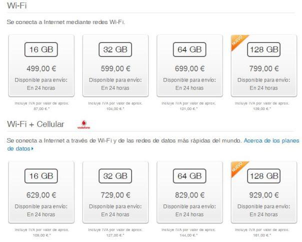 Precios iPad 4