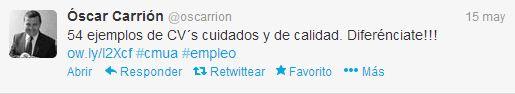 Tuit de Óscar Carrión