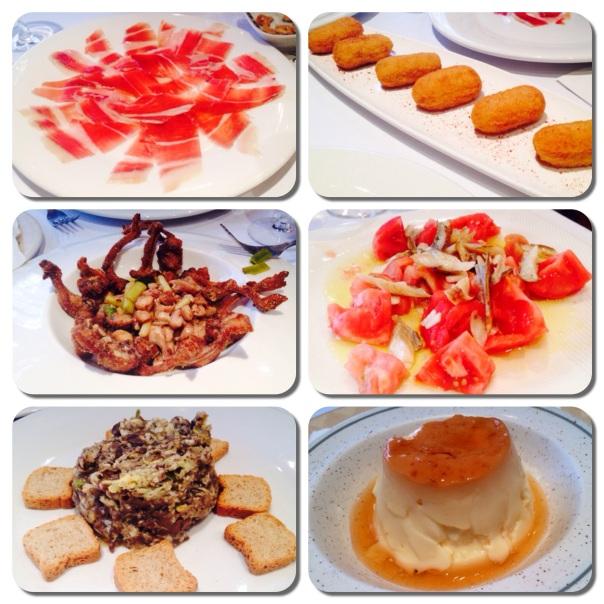 Collage de entrantes en Restaurante Alfonso