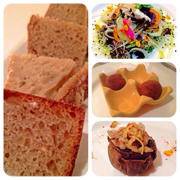 Selección de pan casero hecho del día, ensalada, croquetas y alcachofa