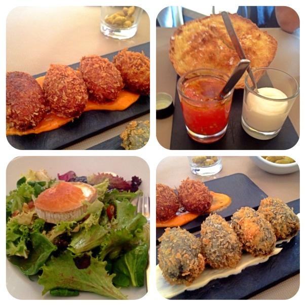 Hogaza braseada, Croquetas de jamón y marisco y Ensalada con queso de cabra y níspero