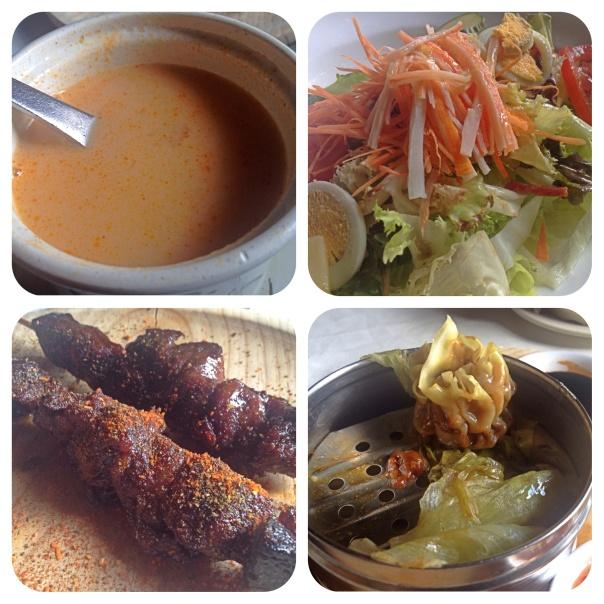 Sopa tom-yam, ensalda, pincho mongol y empenadillas