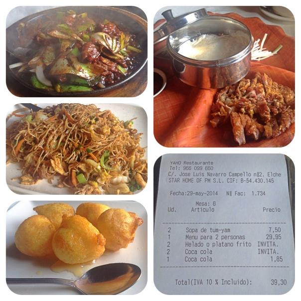 Ternera asada, Fideos chinos, Pato estilo beijing, platano y helado frito, ticket