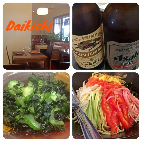 Daikichi, cerveza, sunomono y hiyashi chuka