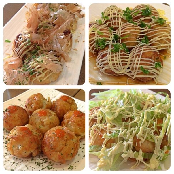 Takoyaki daikichi de sousu mayo, ponzu mayo, chili mayo, shio rayu