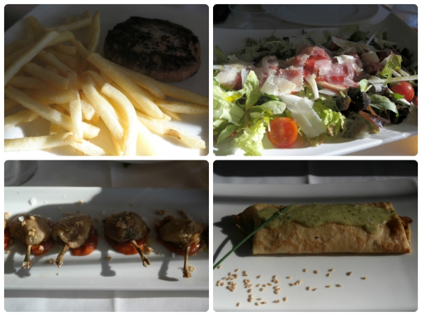 Hamburguesa, Ensalada, Chupachups y Crepe