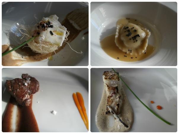 Huevo, Ravioli, Solomillo y Merluza