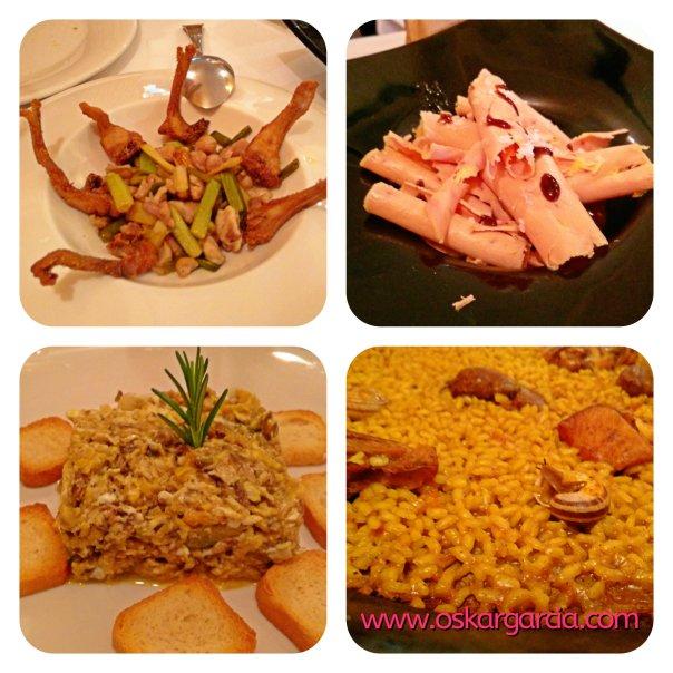 Chuletitas, virutas de foie, revuelto de morcilla, arroz conejo caracoles