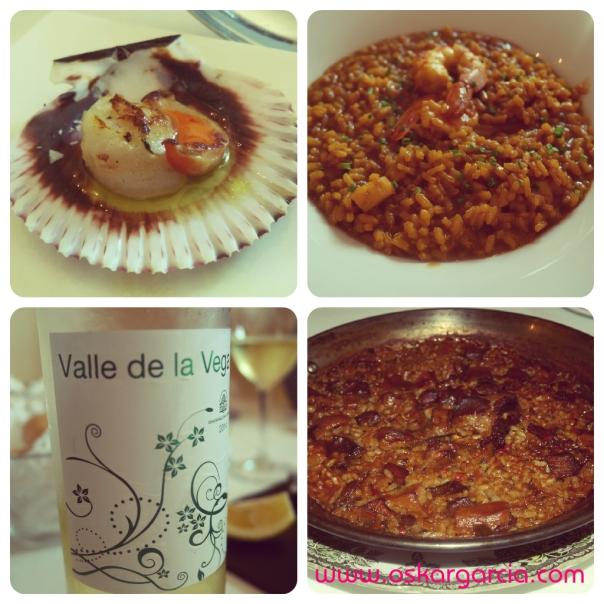 Misteri d'Anna zamburiña, vino rueda, arroz con vieiras y gambas y arroz con setas y costillas