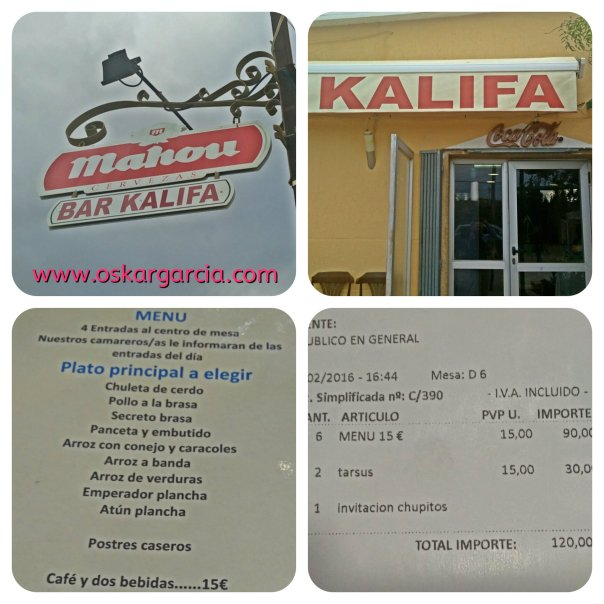 Kalifa, Menú y Ticket