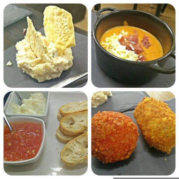 Ensaladilla, Salmorejo, Pan y Croquetas
